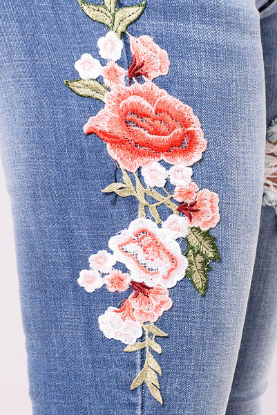 Embroidered Hole High Waist Pants Denim Pants