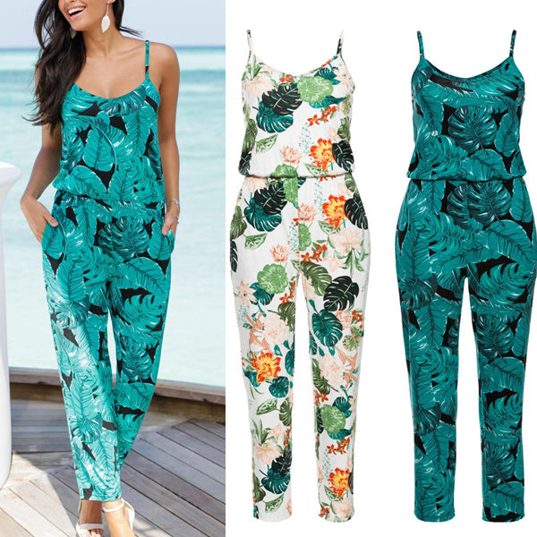 Striped V-neck Print Casual Jumpsuits