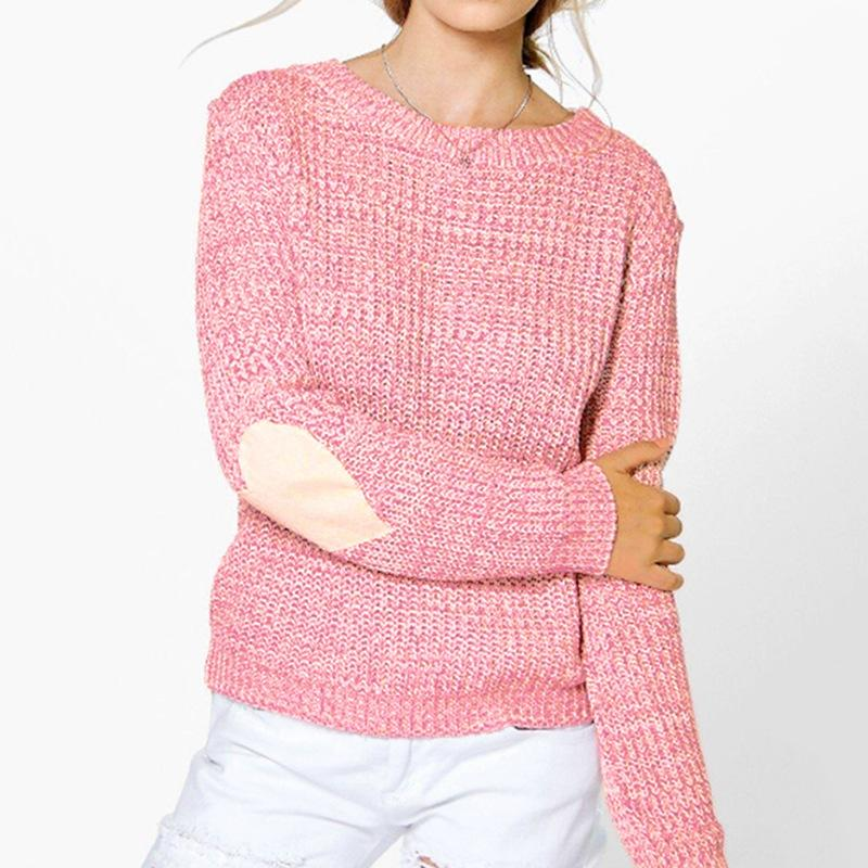 Casual Solid O Neck Long Sleeve Heart Pullover Knitted Sweater