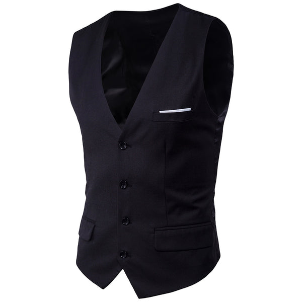 Solid Color Single Breasted Suit Vest (S-6XL)