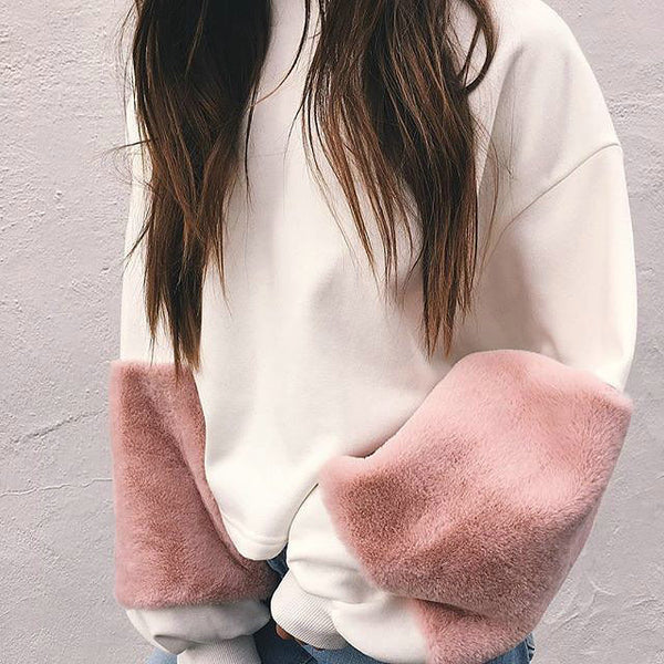Plush sleeves loose sweater