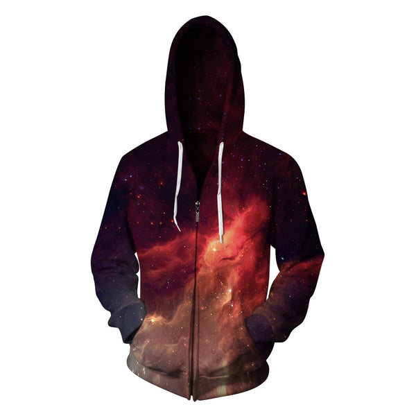 Lighting Sky Printed Zipper Fleece Hooded Sweatshirt