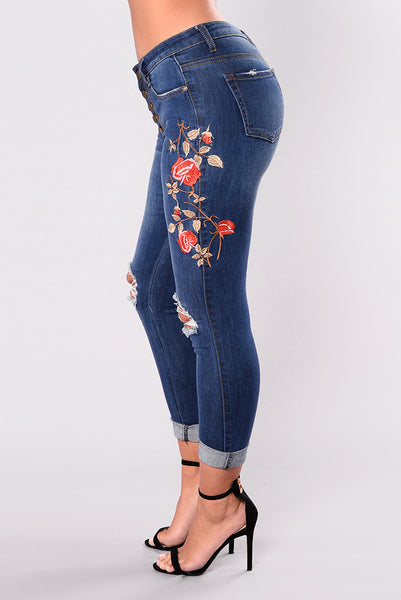 High Waisted Embroidered Skinny Destroyed Ripped Hole Jeans