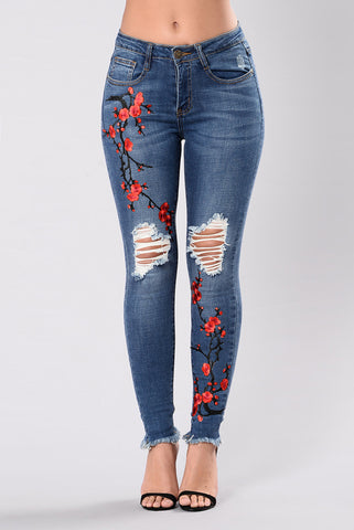High Waited Embroidered Skinny Destroyed Ripped Hole Jeans