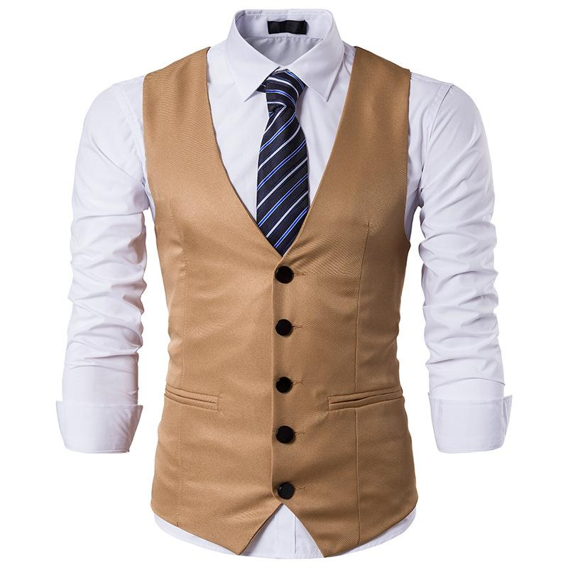 Fashion Solid Color Single Breasted Gentleman's Suit Vest Waistcoat