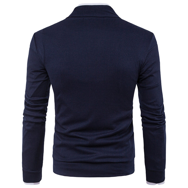 Solid Color Stitching Long Sleeve Sweater