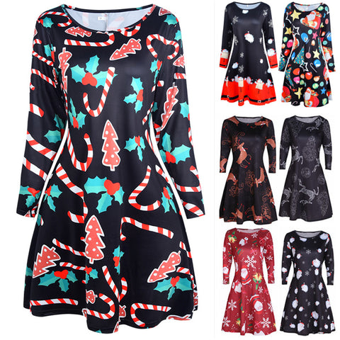 12 Colors Christmas Ladies Long Sleeve Swing Flared Dress Swing Flared A Line Dress Plus Size