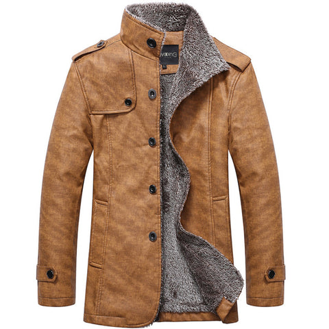 Men Stand Collar Leather Warm Car Jacket Motorcycle Lightweight Faux Leather Outerwear Coat