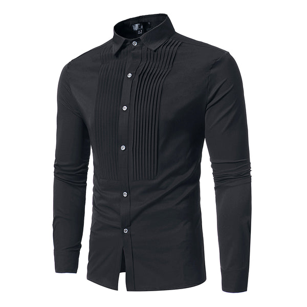 Pleated Design Long Sleeve Shirt