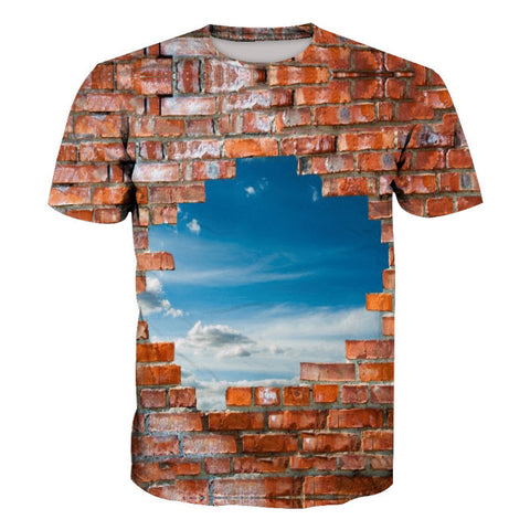 Brick Wall Sky Print Short Sleeve T-shirt