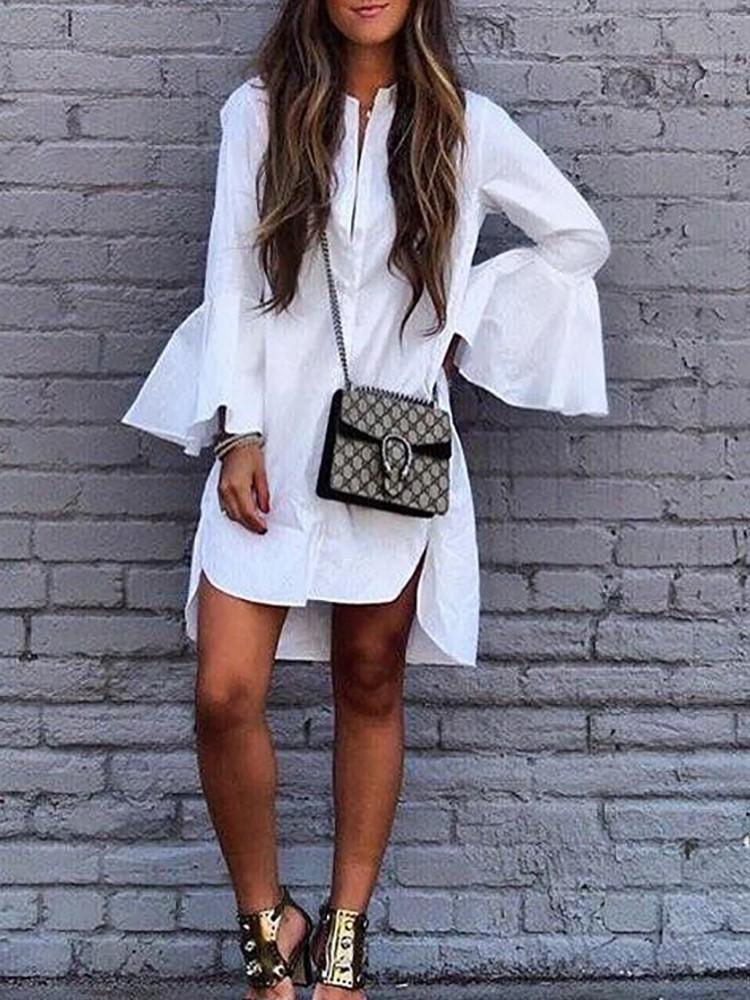 Flare Sleeve White Long Blouse Dress