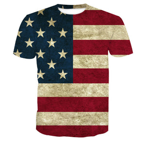 3D American Flag Print Short Sleeve Men's T-Shirt