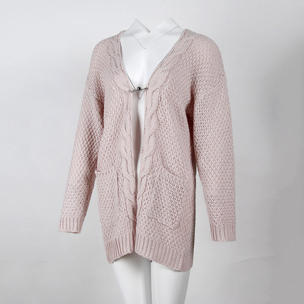 Plus Size Pocket Sweater Twist Knit Cardigan