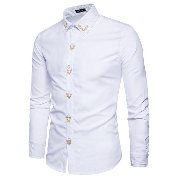 Embroidered Slim Casual Shirt