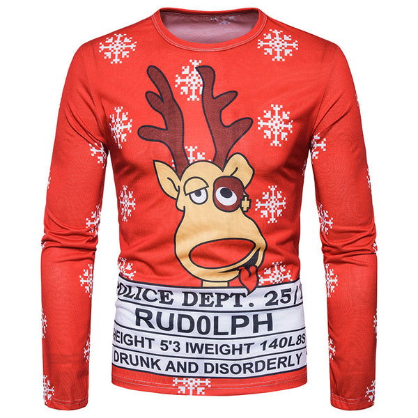 3D Cute Reindeer Print Round Neck Long Sleeve Christmas T-shirt Top