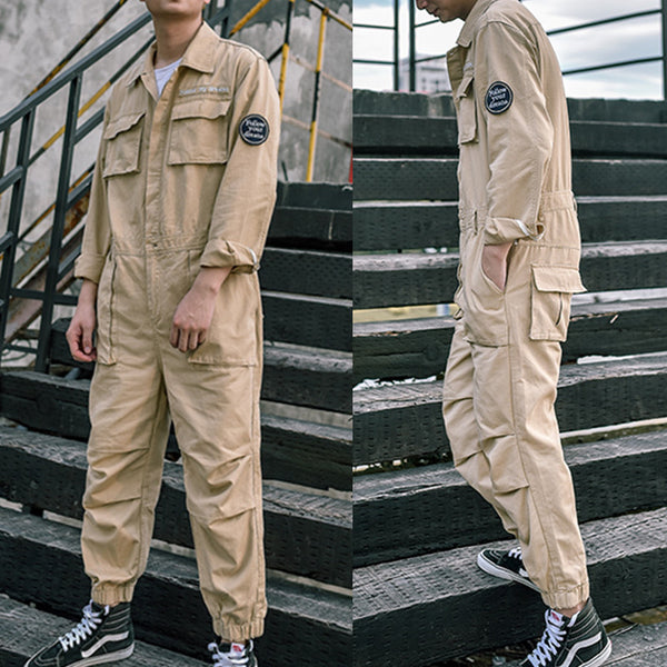 Men's Vintage Multi Pockets Loose One Piece Long Sleeve Jumpsuit Coveralls Overalls Onesies