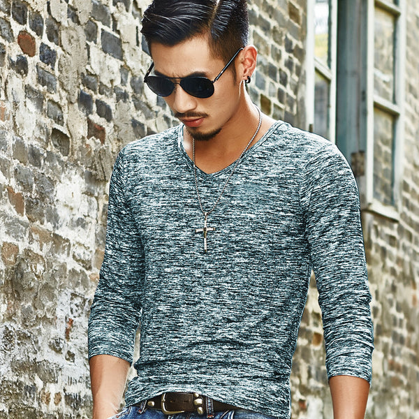 Long-sleeved Solid Color Casual Men's Shirt