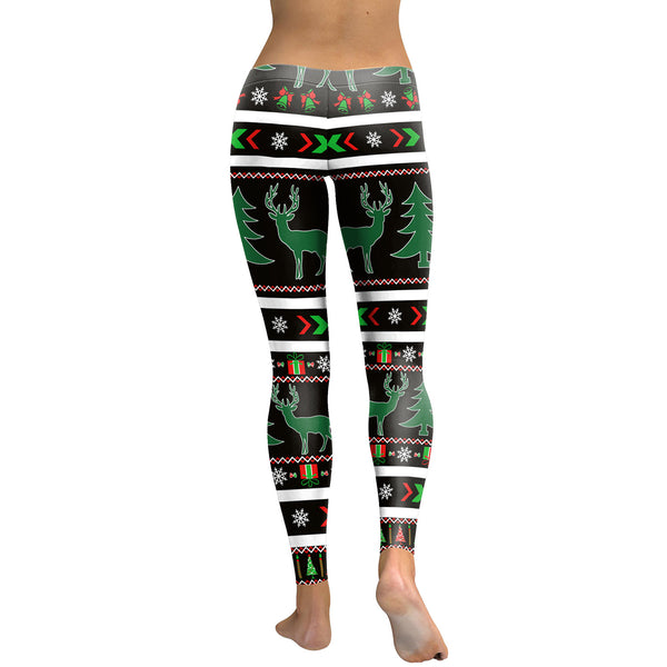 Christmas Elk Print Leggings Yoga Sport Pants