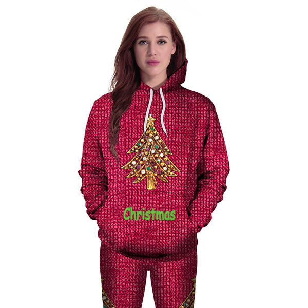 Christmas Tree Printed Hooded Xmas Sweatshirt