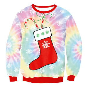 Christmas  Print Loose Round Neck Sweatshirt