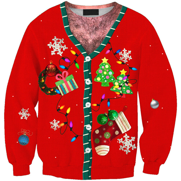 Ugly Christmas Print Sweater Long Sleeve Turtleneck Sweatshirt
