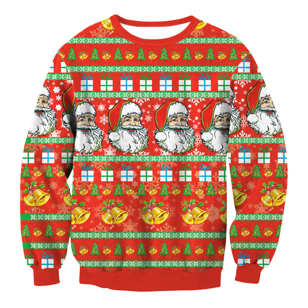 Santa Claus Print Round Neck Loose Turtleneck Sweatshirt