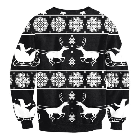 Christmas Elk Print Loose Long Sleeve Sweatshirt