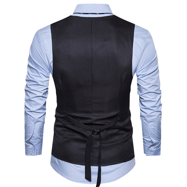 V Neck Braid Embellished Single Breasted Waistcoat