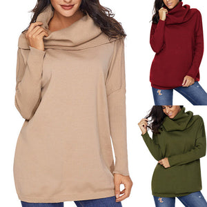 Large Size Solid Color Turtleneck Long Sleeve Sweater