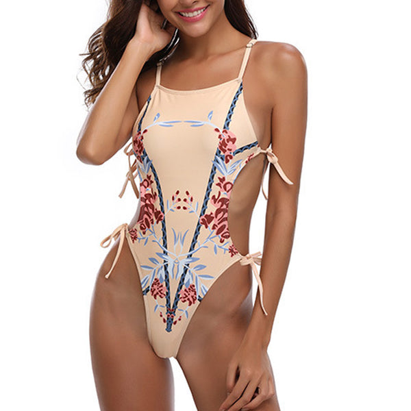 Printed Lace-up One-piece Swimsuit