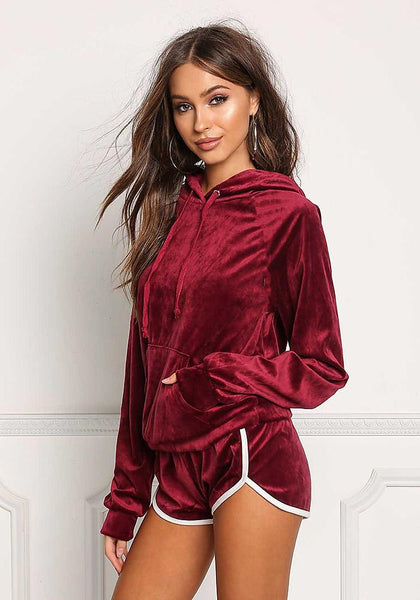 Casual Top+Shorts Two-Piece Hooded Sportswear