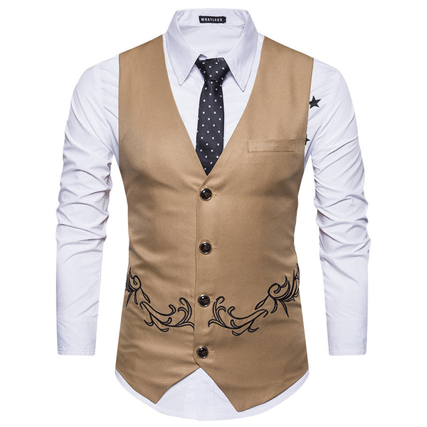 Men's Fashion Embroidered Suit Vest