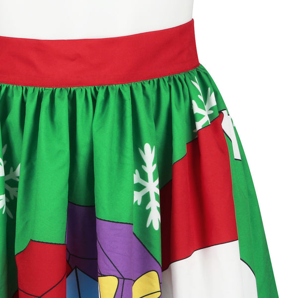 Sweet Santa Claus Print Christmas Ombre Skirt