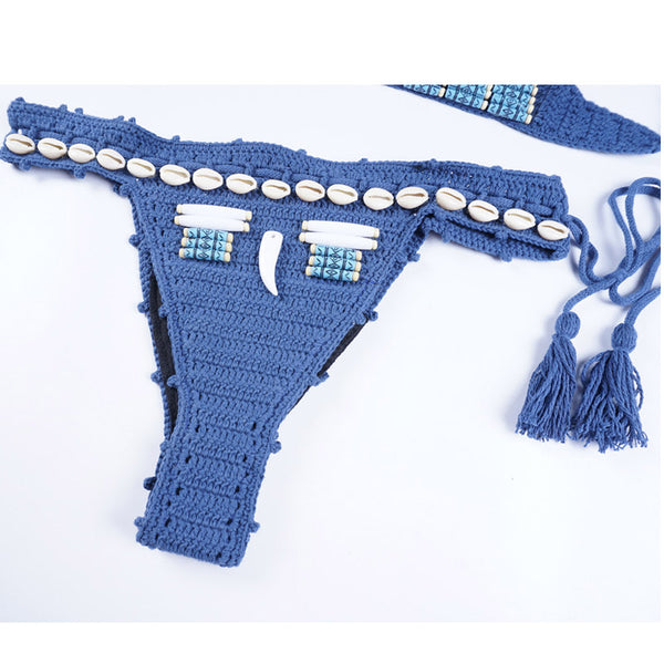 Sexy Bohemian Crochet string shell Hand-knitted Two Piece Swimwear Bathing Suit Women Thong Bikini Set Swimsuit