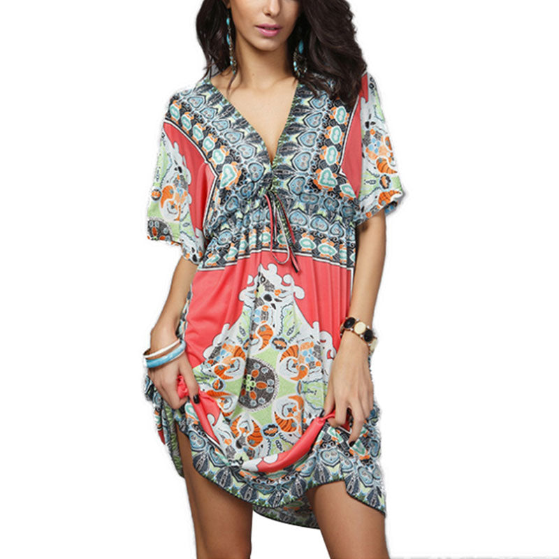 Plus Size V-neck Sexy Milk Silk Dress