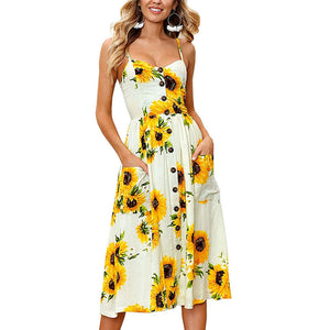 Women Fashion Sunflower Spaghetti Strap Floral Sleeveless Backless Button Down Casual Boho Midi Dress Beach Sundress with Pockets