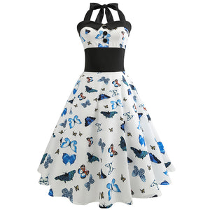 Butterfly Printed Women Retro Hepburn Style 50s Halter Flare Dress