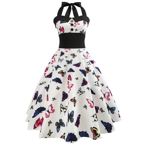 Butterfly Printed Women Retro Hepburn Style 50s Halter Flare Vintage Dress