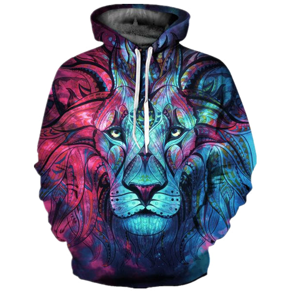 Gradient Lion Printing  Long Sleeve Sports Hoodie
