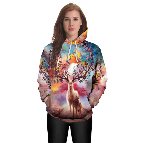 3D Digital Printed Elk Loose Hooded Sweatshirt