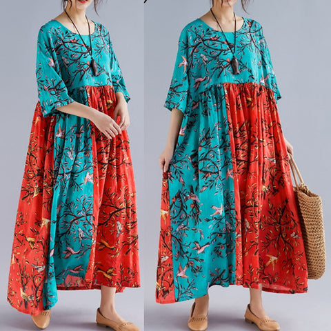 Large Size Ethnic Cotton Printed Loose Dress