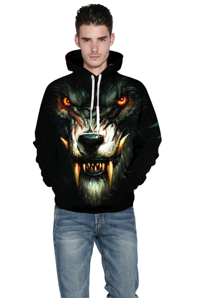 Werewolf 3D Digital Print Loose Hooded Sweater