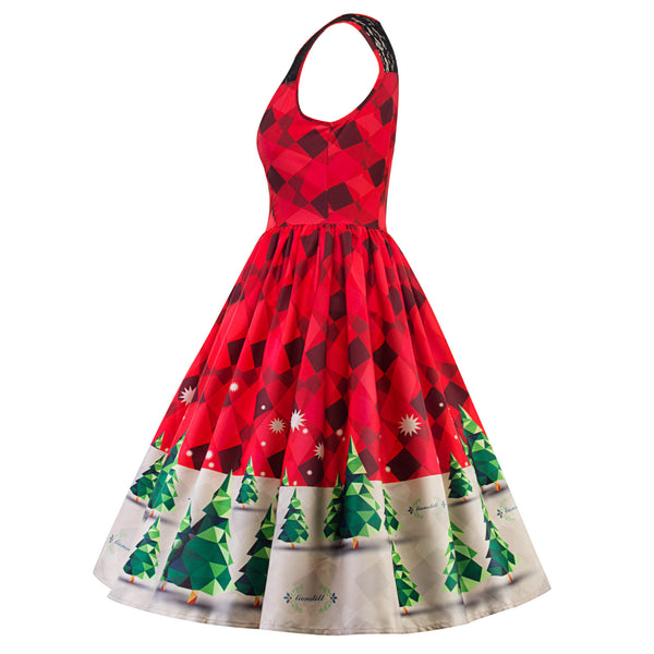 Christmas Print Lace Sleeveless Dress