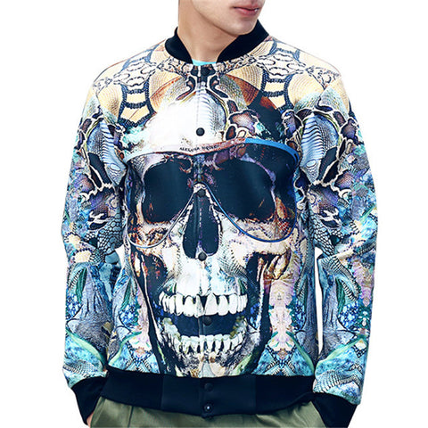 3D Graffiti Skull Digital Print Men's Jacket