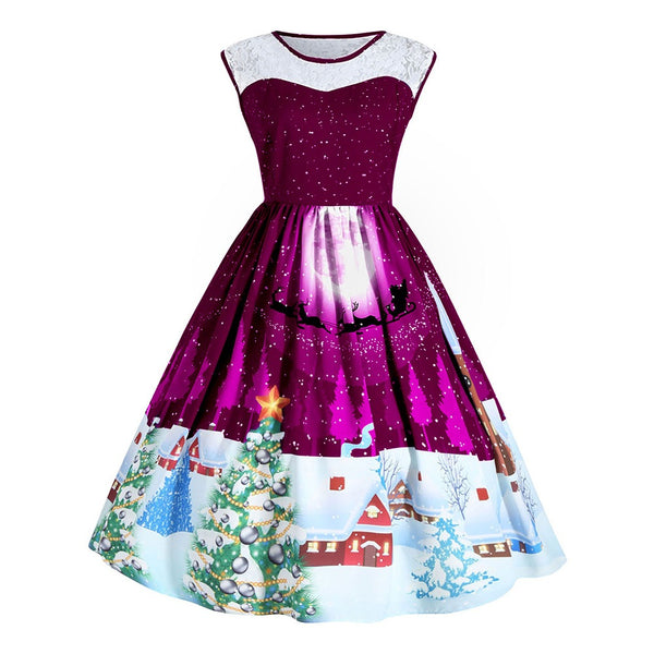 Christmas Retro Hepburn style Lace Print Dress
