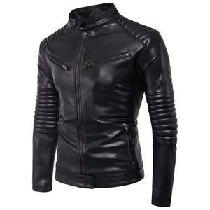 Men's Casual Black Zipper PU Leather Jacket