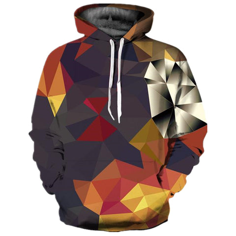 Multi-Color Geometric Digital Print Hoodie