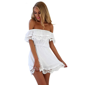 Sexy Women Off The Shoulder Backless Lace Ruffled Party Summer Beach Club Mini Short Dress With Short Sleeve