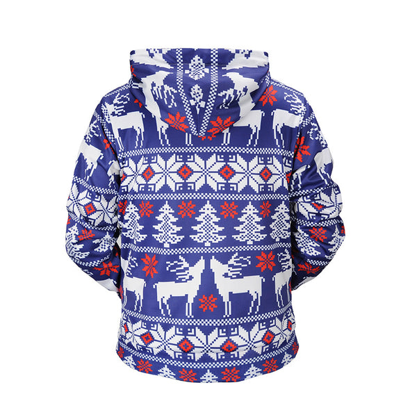 Christmas Tree Reindeer  Print Hooded Sweatshirt