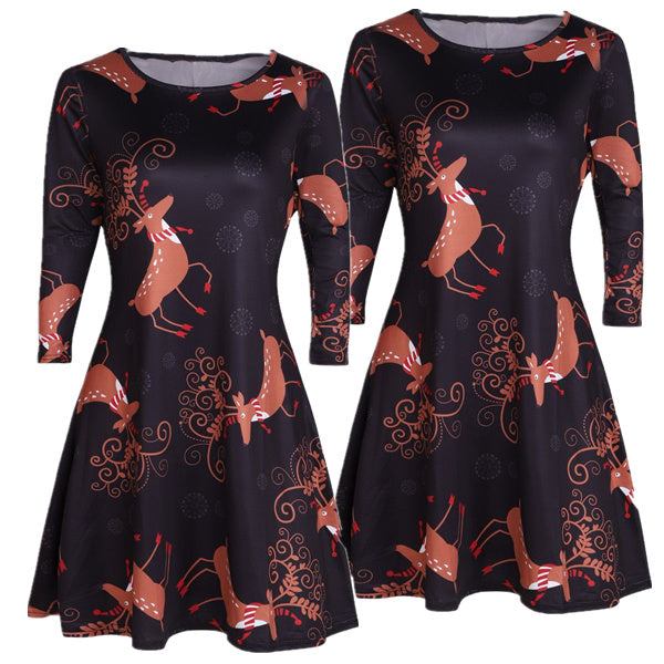 Christmas Cartoon Deer Print Dress
